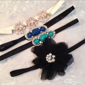 Beaded Floral Rhinestone Headbands Set Of 4